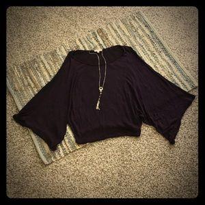 Purple Lightweight Knit Dolman Sleeve Top